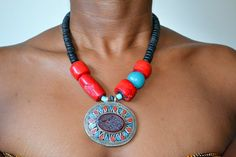 Red coral necklace AZAIDA natural coconut beads by FanmMon on Etsy