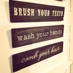 Create this adorable bathroom sign trio perfect to help remind your little ones about their hygiene.  Choose your own stain and paint colors to match your decor!