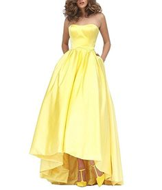 Ezotion Women's Sweeheart Simply Short Front Long Back A Line Prom Dress(26W,Yellow) - Brought to you by Avarsha.com
