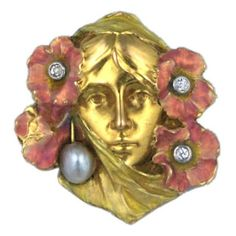 Art Nouveau Enamelled Woman | From a unique collection of vintage brooches at https://www.1stdibs.com/jewelry/brooches/brooches/