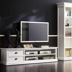 Halifax White Mahogany TV Console with 2 Drawers --- brings the charm of beach houses to your home interior    #entertainmentfurniture