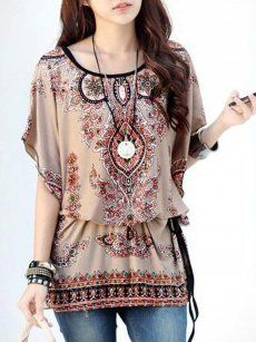 Floral Print Bohemian Style Tops
