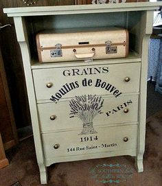 Gorgeous Painted DIY Grain Sack Dresser! By Shannon Olson from A Southern Belle with Northern Roots.