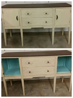 Old buffet refinished in distressed ivory, new wood inside cabinet  painted in aqua, a Java brown top and new expresso hardware.
