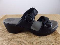 DANSKO Sophie Wedge Sandal Black Mule Clog Sandal Shoe Women 10.5 11 EU 41 $120 #Dansko #PlatformsWedges #Casual