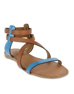 Firenze Strappy Leather Sandals Tan Blue