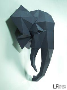 Cabeza de elefante papel elefante elefante lowpoly por LPobjects