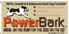 If you take your dog on vacations, road trips, to the cabin, on errands, hiking, hunting.... This is a convenient  way to feed your dog on run! Corn and wheat free, vegetarian, added vitamins and minerals....PowrBark!