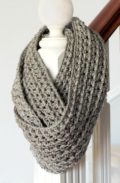 Found this great infinity scarf it is very simple stitch great if you are just starting out crocheting enjoy making it. @ http://www.myfavouritethingsblog.com/2012/11/new-beginnings-basic-chunky-infinity.html