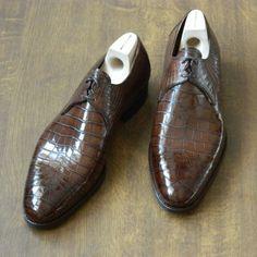 Mod. 118 - 2 eyelet derby in dark brown croc