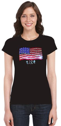U.S. Custom Tees - USA Flag Rhinestone T-Shirt, $14.99…