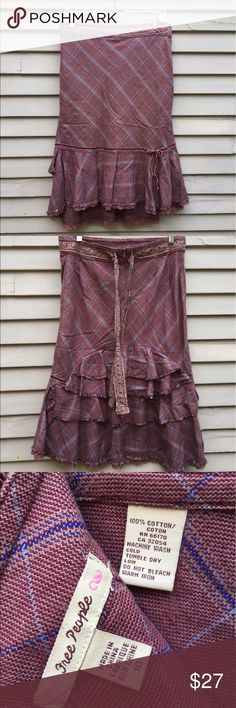 """Free People plaid tweed ruffle skirt purple mauve Cute Free People steampunk/victoriana/artsy skirt. Pre-owned but in great condition. Fabric is soft and perfect for fall. Please check photos carefully - waist has been taken in so it fits a size 8. Alteration is easily reversible as it has not been cut. Waist is 16"""" measured flat, with 1"""" to let out. Free People Skirts Midi"""
