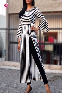 Black and White Stripes Crepe Kurti - Kurtis Online in India   Colorauction