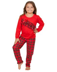 Laura Dare Christmas Morning Plaid Vertical Ruffle Pajama