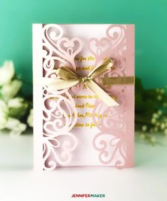 """Pink laser cut filigree invitation with gold ribbon for the DIY Wedding Invitation Template Tutorial diy invitations templates DIY Wedding Invitation Templates - Free """"Laser Cut"""" Set - Jennifer Maker Diy Wedding Invitations Templates, Free Invitation Templates, Invitation Kits, Laser Cut Wedding Invitations, Wedding Invitation Cards, Invitation Design, Templates Free, Invitations Online, Invitation Paper"""