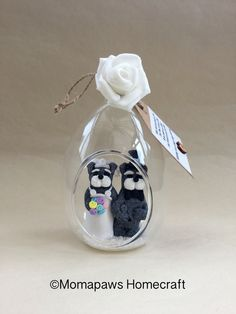 Schnauzer Bride and Groom, married Doggy inside glass bauble Unique Handmade Ornament unusual OOAK different wedding gift for newly weds by MomapawsHomecraft on Etsy