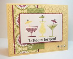 """""""Happy Hour"""". DSP  from the """"Floral District"""" paper pack, stamped the drinks using rich razzleberry, daffodil delight and old olive onto some whisper white card stock. I used the same colors for the umbrellas in the drinks. matted the DSP and my main image panel with rich razzleberry card stock.  base of the card is so saffron and  next layer is so saffron and embossed with the fancy fan EF.  old olive strip is embossed with the square lattice EF."""