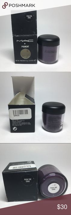 Mac Cosmetics Push the Edge Pigment 100% Authentic Mac Cosmetics  Light usage Push the Edge Pigment - practically full 4.3g but the jar is the old style (usually 7.5g) 100% Authentic  Box a little smashed and some dents too  Please see pictures as this is the actual item you will receive.  Please feel free to ask any questions and I will get back to you as soon as possible. Thank you! MAC Cosmetics Makeup Eyeshadow