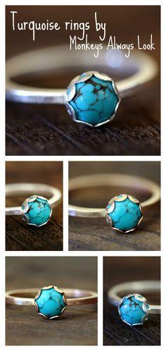 Turquoise sterling silver or 14k gold filled rings from Monkeys Always Look www.monkeysalwayslookshop.com