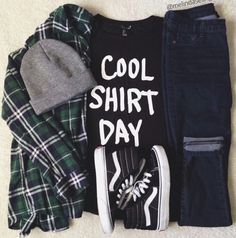 'Cool shirt day' tee with flannel and high top VANS