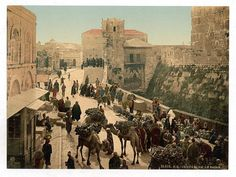 *JERUSALEM, ISRAEL ~ The city was filled with traders, as seen in this bustling market by the Tower of David. First Color Photograph, Life In Russia, Naher Osten, Sea Of Galilee, Holy Land, Grand Tour, Old City, Old Pictures, A4 Poster