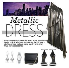 """""""Metallic Dresses"""" by sil-14 ❤ liked on Polyvore featuring Halston Heritage, Yves Saint Laurent, Givenchy and Longines"""