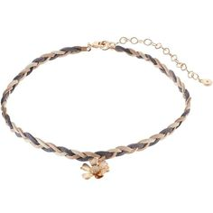 LC Lauren Conrad Gray Flower Braided Faux Suede Choker Necklace ($9.80) ❤ liked on Polyvore featuring jewelry, necklaces, grey, flower choker, tie choker, flower choker necklace, floral necklace and braided necklace