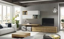 Contemporary TV wall unit / wood veneer / MDF / oak