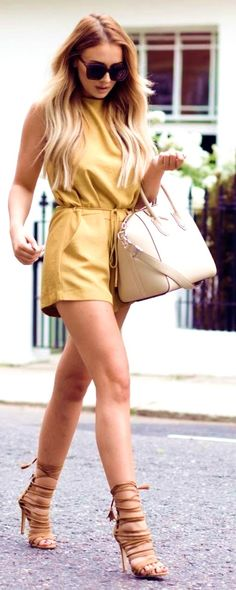 #summer #trendy #outfitideas Mustard Suede Playsuit  - more on http://ift.tt/2rynWxj