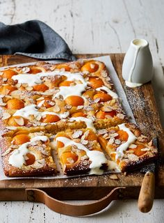 You can use fresh or tinned apricots for this gluten-free slice. Easy to make, it's the perfect afternoon tea recipe. Gluten Free Cooking, Dairy Free Recipes, Cooking Recipes, Cooking Time, Fodmap Recipes, Fruit Recipes, Dessert Recipes, Health Recipes, Cake Recipes