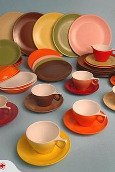 Making it's first appearance in the early 1960s? This crockery was made of a dense tough plastic which would not break when dropped.