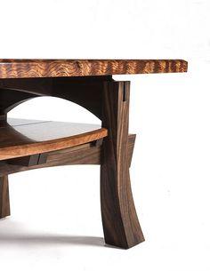 Detail, Curly Bubinga and Walnut Coffee Table Fine Furniture, Unique Furniture, Furniture Projects, Custom Furniture, Wood Furniture, Furniture Design, Unique Coffee Table, Walnut Coffee Table, Woodworking Furniture