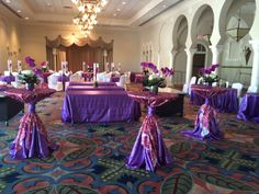 Pucci Plum Overlay over Satin Orchid tablecloth with a Satin Orchid tie // www.linensbythesea.com