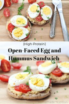 This tasty twist on an egg sandwich is a flavorful and filling way to start the day! Eggs, hummus, and a whole grain English muffin are the base of this quick, high protein breakfast recipe! Breakfast Sandwich Recipes, Easy Brunch Recipes, Healthy Breakfast Muffins, Breakfast Time, Breakfast Ideas, English Muffin Breakfast, Quick High Protein Breakfast, Breakfast Quesadilla, English Muffins