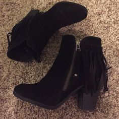 Black suede botties with fringe Black suede booties with fringe worn only one time Shoes Ankle Boots & Booties