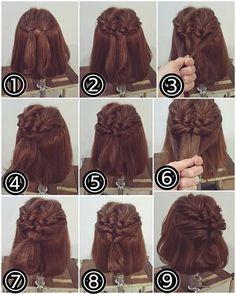 ボブくるりんぱアレンジ ① トップをこのように2つに分けて結びます。 ② それぞれをくるりんぱします。 ③ その下の部分を両サイドからとり… ④ 後ろで結びます。 ⑤ それもくるりんぱします。 ⑥ またその下の髪を両サイドからとり、最初の2つ結んでくるりんぱした毛束と一緒に… ⑦ 後ろで結びます。 ⑧ それもくるりんぱします。 ⑨ 少し毛束をつまみ引き出して柔らかくかたちを整えたら出来上がりです! #横浜美容室#ヘアサロン#ヘアエステ#美容室#ヘアアレンジ#ヘアアレンジ解説#ヘアアレンジプロセス#簡単アレンジ#まとめ髪#ヘアスタイル#ボブアレンジ#ハーフアップ#くるりんぱ#横浜#石川町#元町#nest#スタッフ募集#スタッフ募集中