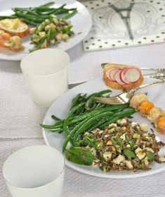 A Summer Luncheon - Living Tastefully Blanched Almonds, Toasted Almonds, White Beans, Green Beans, Asparagus Frittata, Poached Chicken, White Wine Vinegar, Tapenade