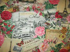 VINTAGE PARIS DREAM EIFFEL TOWER ROSE SCRIBE CREAM COTTON FABRIC FQ