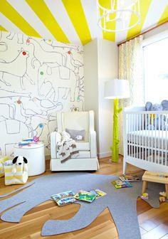 Brooklyn Apartment with a Sleek, Bohemian Edge - Design Milk Yellow Kids Rooms, Funky Lighting, Wood Floor Lamp, Floor Lamps, Brooklyn Apartment, York Apartment, Baby Room Design, Kids Decor, Home Decor