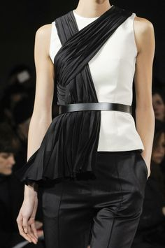 The Art of Wrapping... elegant black & white structured tailoring with pleat & wrap scarf detail; closeup fashion details // Jason Wu