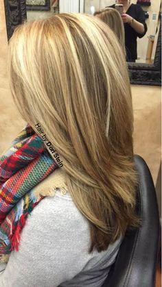Dark brown low-lights, blonde hair. Perfect blonde highlights and dark brown low-lights.