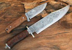 """Conjunto de facas de caça """"AC"""" - Gravadas a buril"""