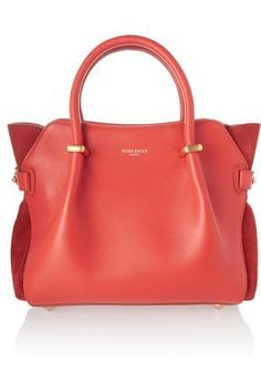 Nina Ricci - Le Marché small leather and suede tote Leather Purses, Leather Handbags, Red Leather, Red Tote Bag, Suede, Cute Bags, Tote Handbags, Bag Accessories, Shoe Bag