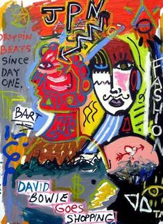 David Bowie Goes Shopping Vito, Jean Michel Basquiat, Contemporary Abstract Art, David Bowie, Go Shopping, Original Paintings, Presents, Gallery, Artist