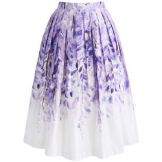Chicwish Divine Wisteria Printed Midi Skirt ($44) ❤ liked on Polyvore featuring skirts, purple, chicwish skirt, knee length pleated skirt, midi skirt, mid calf skirts and purple midi skirt