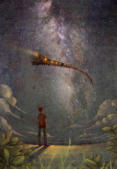 #illustration #art  train sky snake. i appreciate the creativity