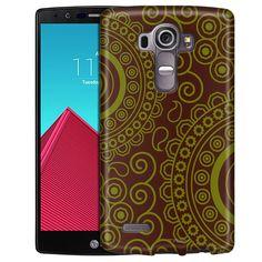 LG G4 Paisley Circles Green on Brown Slim Case