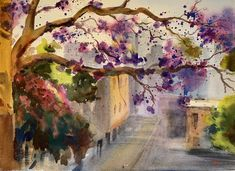 """""""The misty alley with jacaranda """" by Shelly Du. Paintings for Sale. Fun Crafts For Kids, Preschool Crafts, Arts And Crafts, Bone Crafts, Art For Sale Online, Arches Paper, Purple Rain, Paintings For Sale, Beautiful Artwork"""