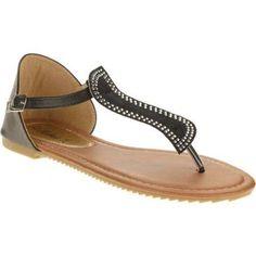 Victoria K. Women's Leaf Motif Sandals, Size: 9, Black
