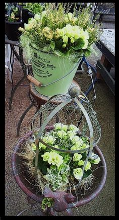 Upstyled poultrywire cloche!  I love the added elements (strapping frame & top knob)